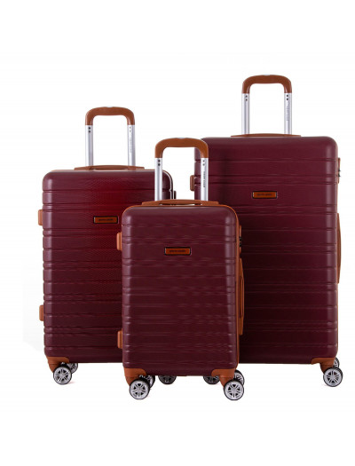 Set de 3 valises Sirrah rouge